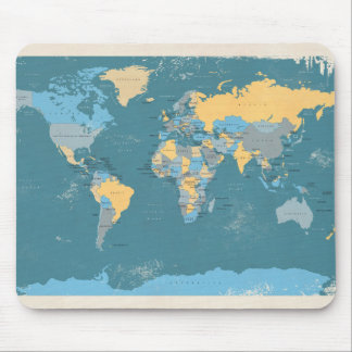 Retro Political Map of the World Mouse Pad