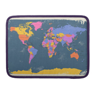 Retro Political Map of the World Sleeve For MacBooks