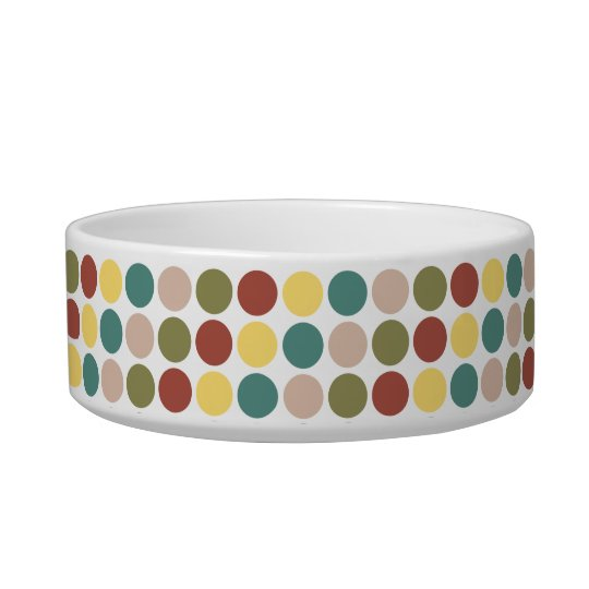 Retro Polka Dot Cat Bowl