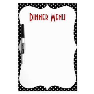 Retro Polka Dot Dinner Menu Dry Erase Board