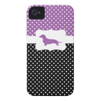Retro Polka Dot w/Dachshund iPhone 4 Case