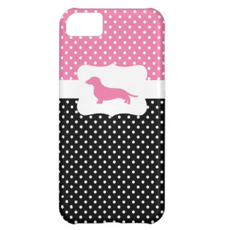 Retro Polka Dot w/Dachshund iPhone 5C Case