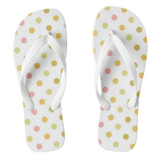 Retro Polka Dots Adult Wide Straps Flip-Flops Flip Flops