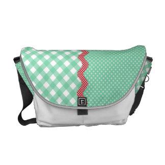 Retro Polka Dots and Checks Messenger Bag