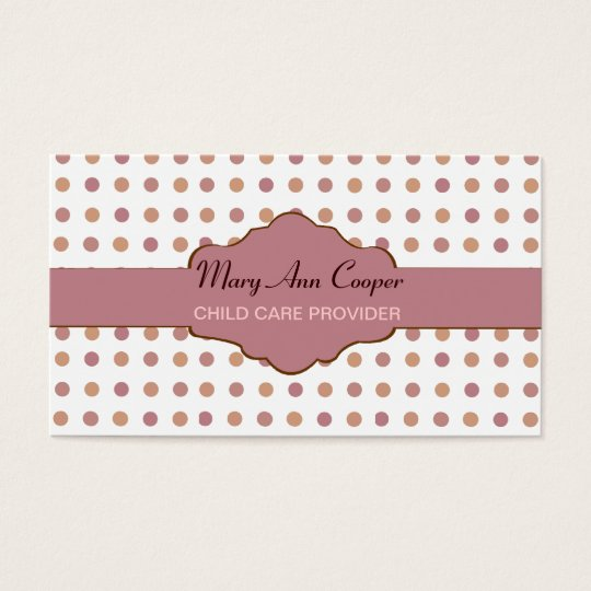 Retro Polka Dots Classic Custom Pattern ROSE MAUVE Business Card