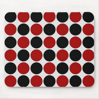 Retro Polka Dots in Red & Black Mouse Mat