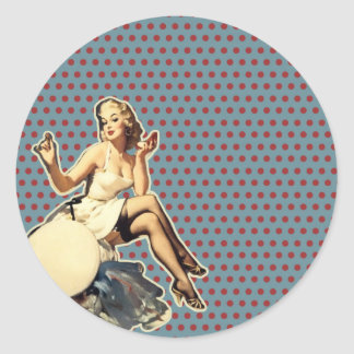 Retro polka dots Vintage pin up girl Round Sticker