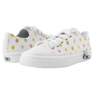 Retro Polka Dots Zipz Low Top Shoes