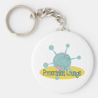 Retro Pomeranian Lounge Keychain
