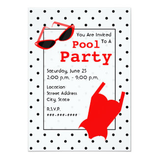 Retro Pool Party - Cat Eye Sunglasses Red Swimsuit 13 Cm X 18 Cm Invitation Card