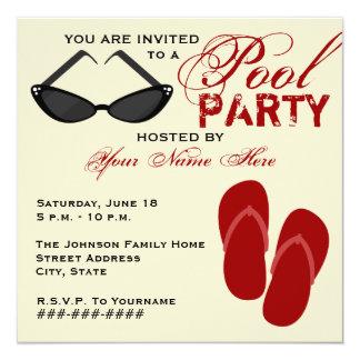 Retro Pool Party Invite Flip Flops & Sunglasses