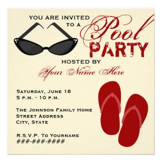 Retro Pool Party Invite Flip Flops Sunglasses