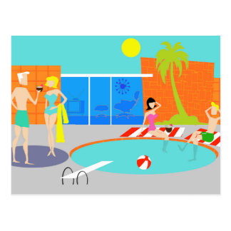 Retro Pool Party Postcard