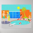 Retro Pool Party Poster