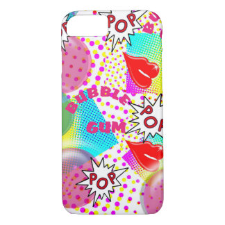 Retro Pop Art Bubblegum Red Lips Halftone Graphic iPhone 7 Case