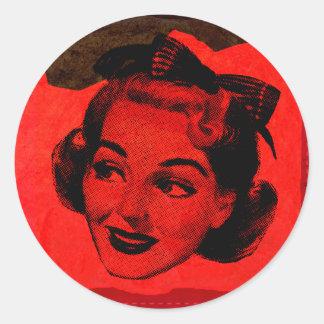 Retro Pop Art Red Head Woman Stickers