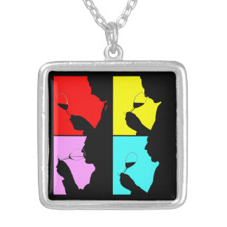 Retro Pop Art Wine Tasting Tasters Gift Necklace