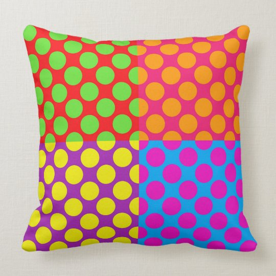 Retro PopArt Style Funky/Bright Colourful Dots Cushion