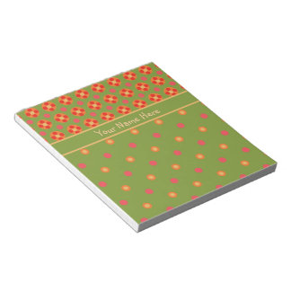 Retro Poppies and Polka Dots Notepad or Jotter