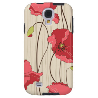 Retro Poppies Pattern Galaxy S4 Case