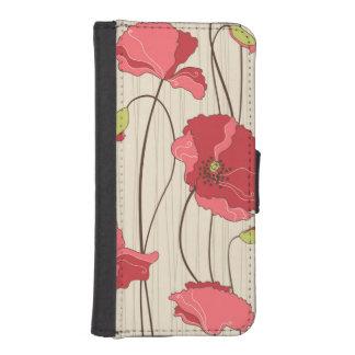 Retro Poppies Pattern iPhone SE/5/5s Wallet Case