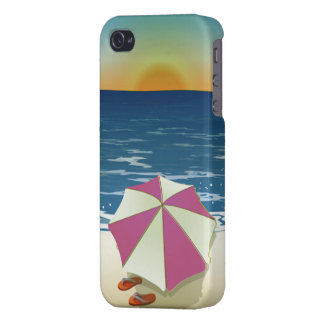 Retro Post Card Inspired Beach Scene iPhone 4 Cases