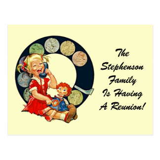 Retro Postcard Family Reunion Staying-In-Touch