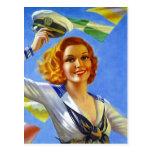 Retro Postcard Sailor's Gal Pin-Up Girl Sailing