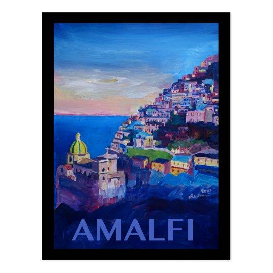 Retro Poster Amalfi Coast italy Postcard