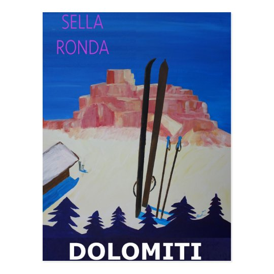 Retro Poster Dolomiti Italy at Sella Ronda Postcard