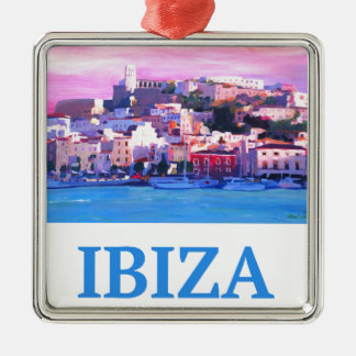 Retro Poster Ibiza Old Town and Harbour Christmas Ornament