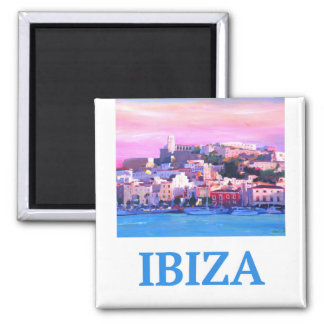 Retro Poster Ibiza Old Town and Harbour Magnet