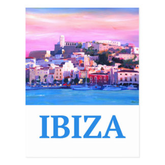 Retro Poster Ibiza Old Town and Harbour Postcard