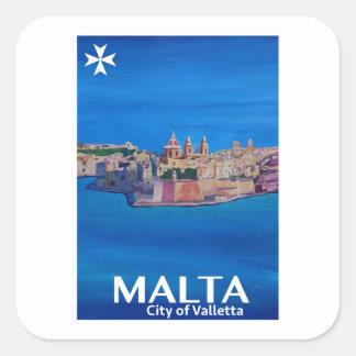 Retro Poster Malta Valetta  - City of Knights Square Sticker