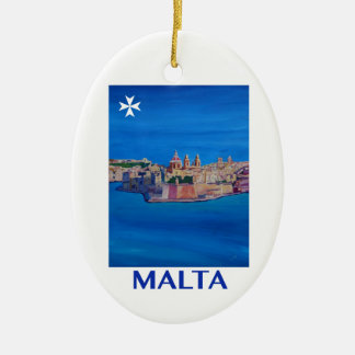 RETRO POSTER Malta Valetta City of KnightsII Christmas Ornament