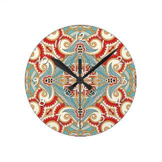 Retro Pretty Chic Red Teal Floral Mosaic Pattern Clocks