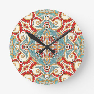 Retro Pretty Chic Red Teal Floral Mosaic Pattern Round Clock
