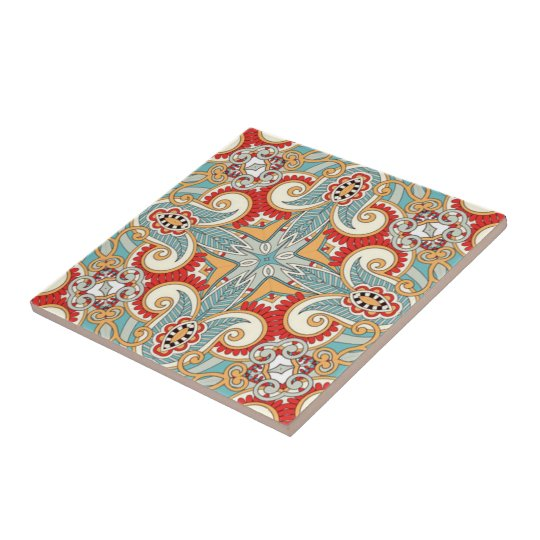 Retro Pretty Chic Red Teal Floral Mosaic Pattern