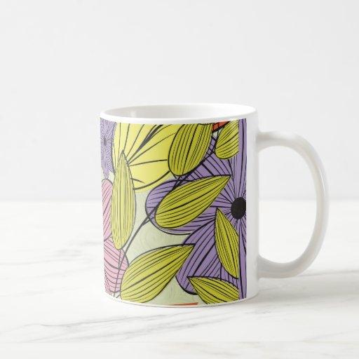 Retro Primitive Flower Drawing Coffee Mugs