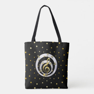 Retro Printed Gold and Silver effect Musical Notes Tote Bag