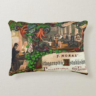Retro Printing Ad 1867 Decorative Cushion