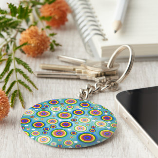 Retro Psychedelic Circles Keychain
