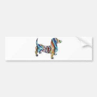Retro Psychedelic Dachshund Bumper Sticker