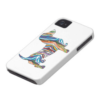 Retro Psychedelic Dachshund iPhone 4 Covers