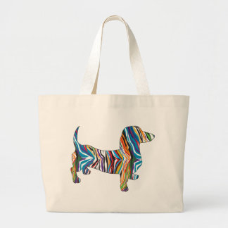 Retro Psychedelic Dachshund Large Tote Bag