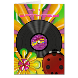 Retro Psychedelic Vinyl Record Personalized Cards