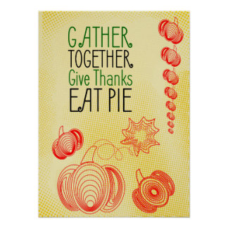 Retro pumpkins Thanksgiving design Poster
