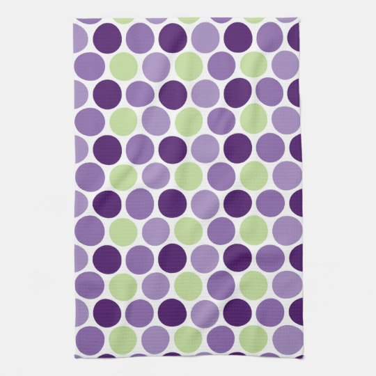 Retro Purple and Green Circles Kitchen Towels