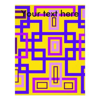 Retro purple and violet squares on yellow custom flyer