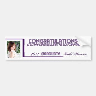 Retro Purple and White Graduation Wine Label Car Bumper Sticker